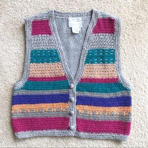 90's Vintage Hand Crochet Vest by Cambridge M